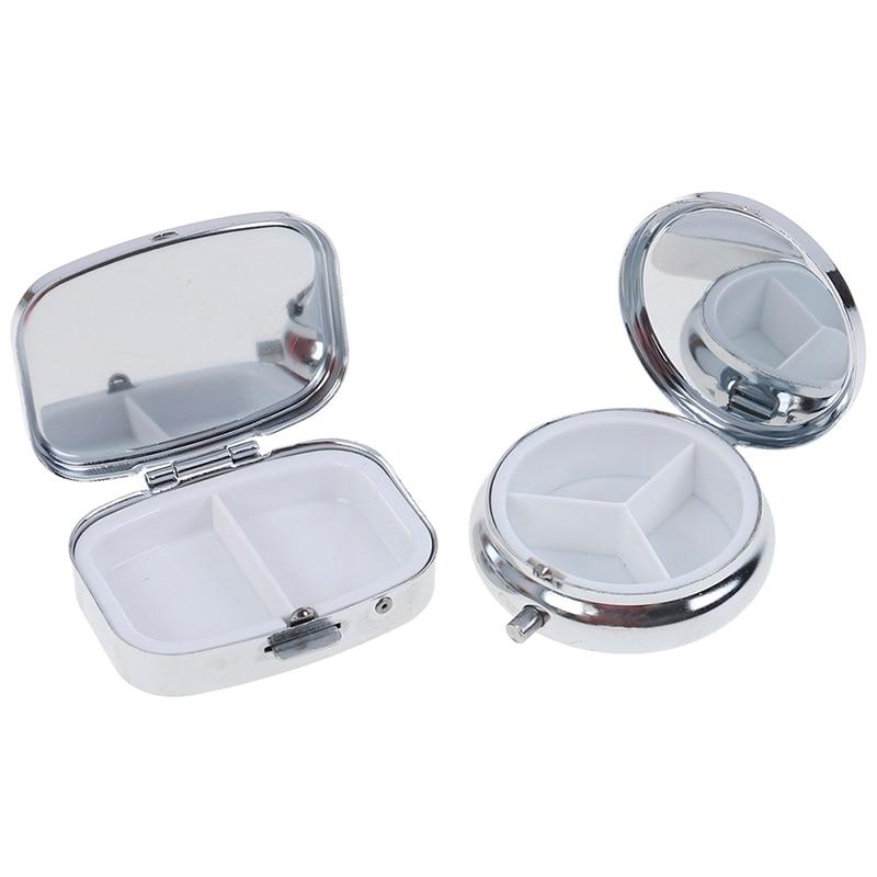 1PCS Silber Medizin Fall Tablet Kleine Metall Runde Rechteckigen Pille Box Container Tragbare Metall Halter Medizin