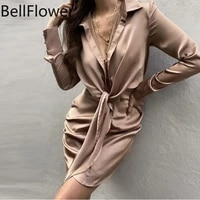 autumn shirt skirt women clothing satin long sleeve casual bandage buttons turn down collar solid sexy party bodycon dress new