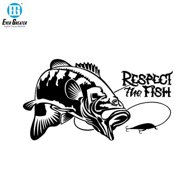Pegatina de vinilo para el coche respet the Fish The Fishing Boat Hunting
