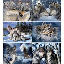 HUACAN 5D DIY Diamond Painting Wolf Snow Diamond Embroidery Animal Full Round Mosaic Home Decor Needlework