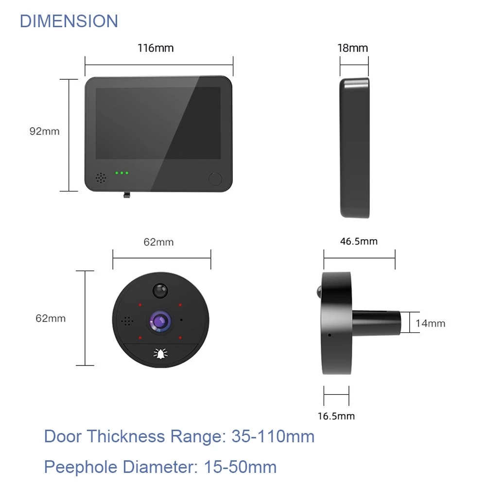 New 1080P Peephole Video Doorbell  Camera Wifi Door Bell Viewer High Degree Motion Detection Tuya APP Remote Control for Home enlarge
