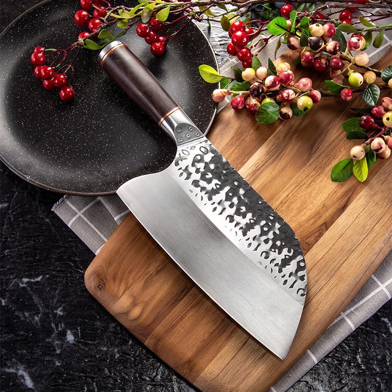 Cuchillo de carnicero SHUOJI de acero inoxidable 5CR15MOV, cuchillo de cocina de cuchilla china, Cuchillos Forjados a mano, herramientas de cocina para Chef