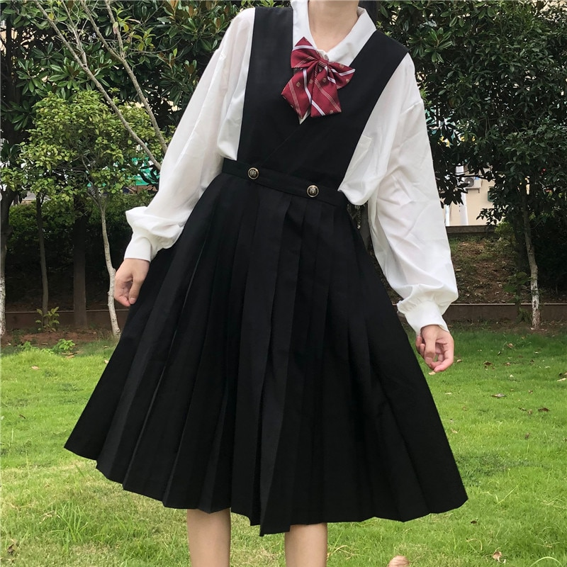 Japanese College-Style Vest Dress Mid-Length Black JK Uniform Suspender Skirt Pleated  kawaii clothing sweet lolita dress japanese collection jk skirt pleated skirt lattice skirt cute pleated half body women s short jk uniform sweet lolita dress