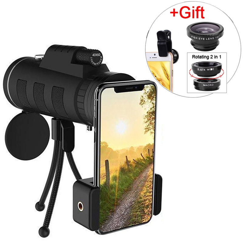 3in 1 Wide Angle Macro Fisheye Lens 40x60 Zoom Telescope Smartphone Kits Camera Lenses On The Mobile Phone For Iphone 7 8 Plus
