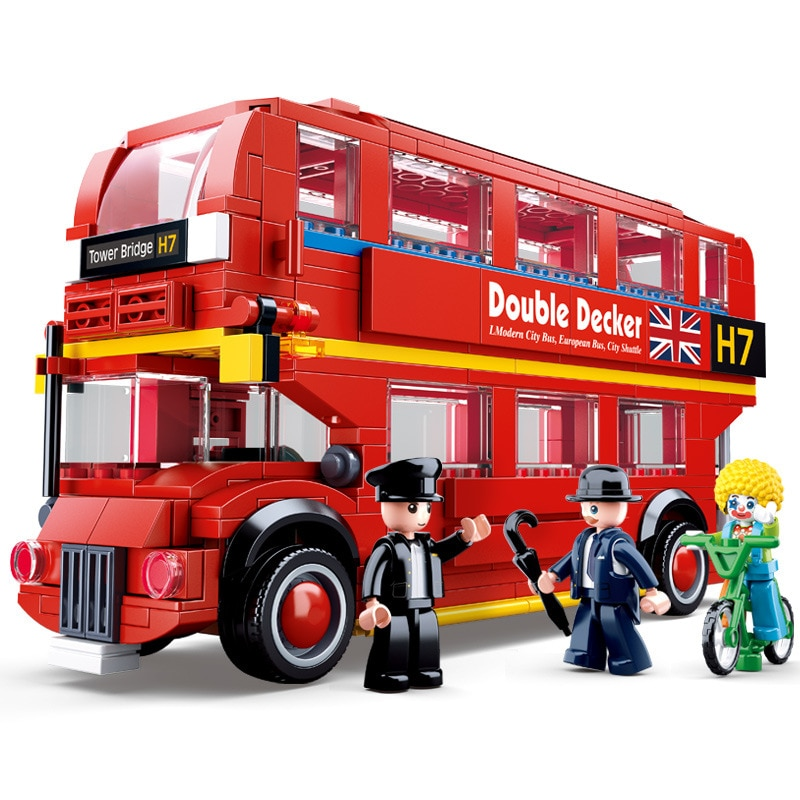 Двухслойная красная модель лондонского мини-автомобиля SLuban 0708, туристический автобус, школьная модель, Детские конструкторы «сделай сам», ...