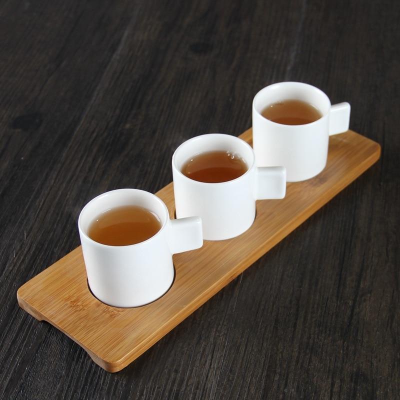 شمال أوروبا السيراميك مقهى اسبريسو النار كوب صغير قهوة بالحليب القدح مع الخيزران البليت المنزل تستخدم بهلوان متجمد Teacups مجموعة