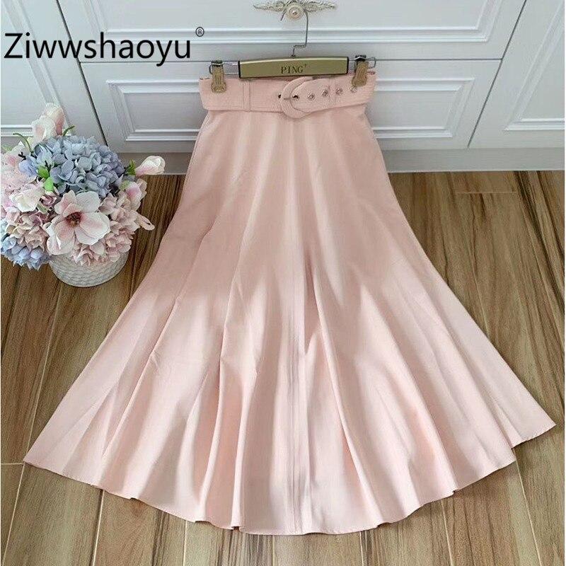 Ziwwshaoyu femmes automne concepteur haut de gamme chanvre fil longue jupe femmes mode ceintures a-ligne solide jupe