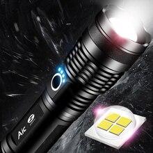 Potente Linterna LED XHP50 táctica, Linterna recargable por USB, impermeable, ultrabrillante, para acampar