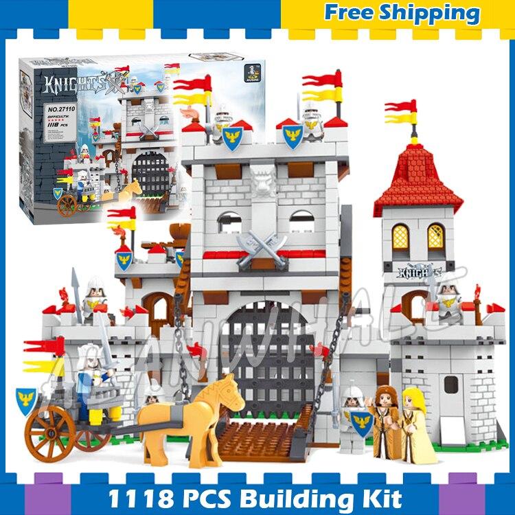 1118 Uds. Nuevo Castillo de León de caballeros 27110 figura bloques de construcción juguetes para niños Nexus Compatible con