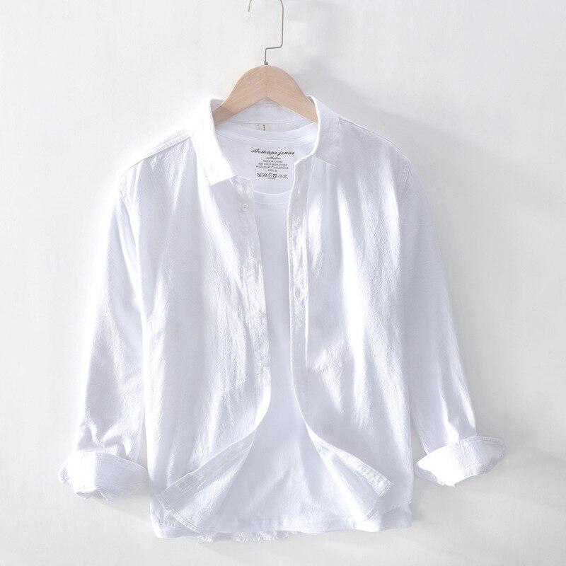 2020 ربيع جديد قميص قطني بكم طويل Blusa Masculina