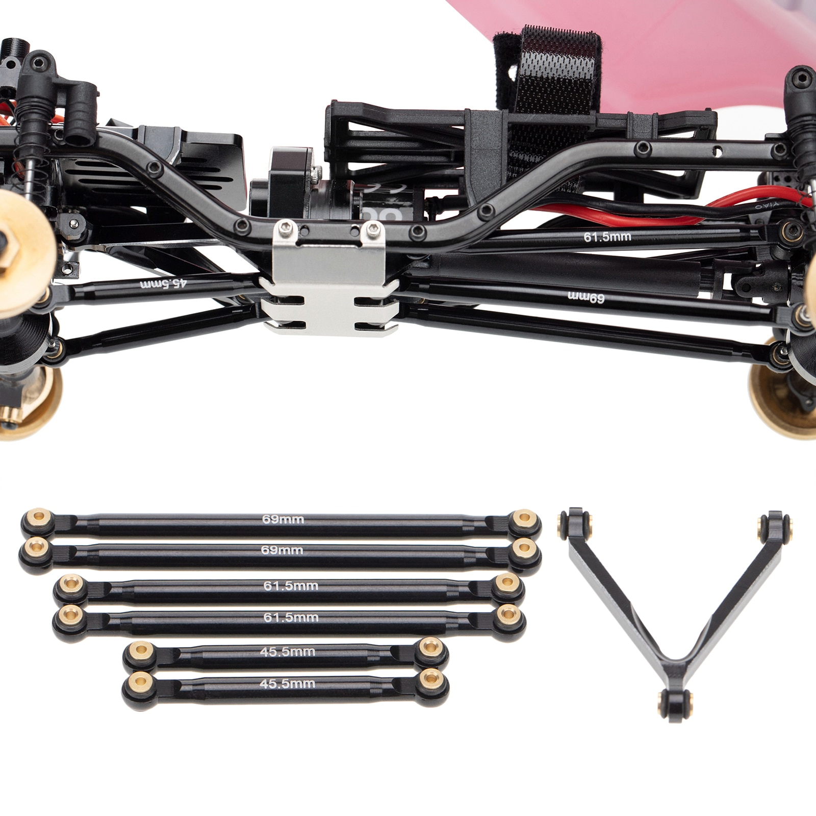 7pcs RC Aluminum Alloy Link Set 133mm Wheelbase for Axial SCX24 AXI00002, Model Crawler Buggy Car Upgrade Parts enlarge