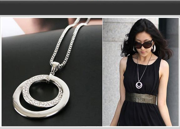 fashion vintage black eclipse necklace women long chain celestial moon crescent pendant necklace jewelry accessories party dress HOT Long Chain Women Necklace Fashion Crystal Rhinestone  Plated Pendant Necklace Gift Jewelry Accessories Torque Choker