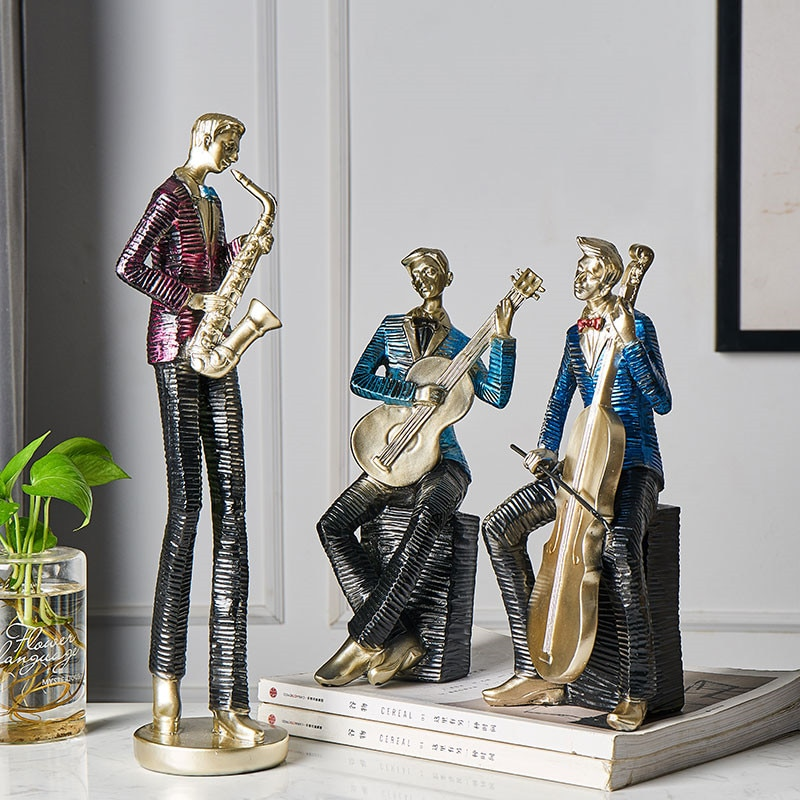 Nordic Music Character Art Sculpture Guitar Saxophone Cello 28cm