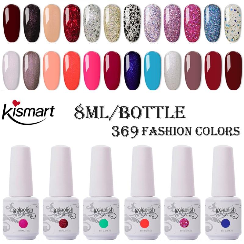 Kismart New 8ml Gel Polish Soak Off UV Gel Nail Polish Pink GelLak Hybrid UV Semi Permanent Gelpolish Esmalte Gel Varnish