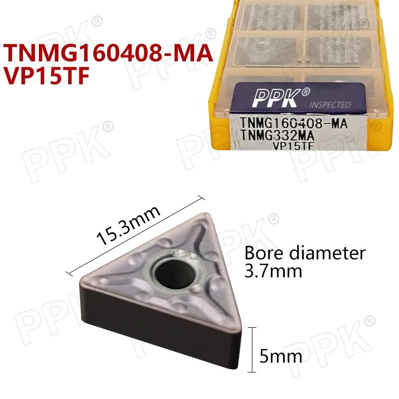 TNMG160408 MA VP15TF 10pcs TNMG 160408 Carbide insert Lathe cutter Tools external turning tool solid carbide inser