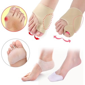 Silicone Hallux Valgus Corrector Bunion Corrector Pedicure Socks Big Toe Separator Straightener Heel Cushion Pads Foot Care Tool