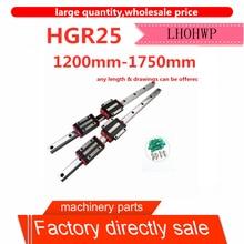 2 HGR25 1200mm-1750mm square linear guide width 25mm long + 4 slider brackets HGH25CA / flange HGW25CC CNC engraving machine