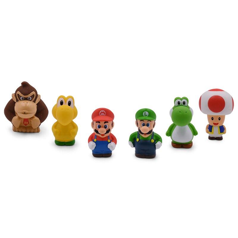 7CM 6 unids/lote Super Mario Bros figuras de acción de PVC juguetes Yoshi Luigi Donkey Kong Odyssey modelo muñecas colección de regalo