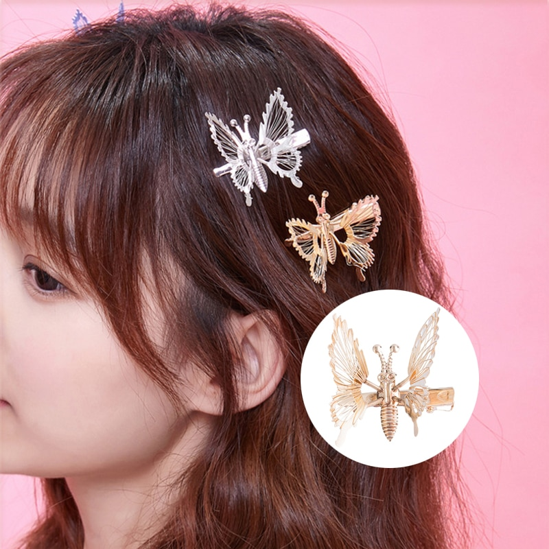 Заколка для волос с гальваническим покрытием и бабочкой для женщин и девушек, заколки для волос, аксессуары для волос для женщин, аксессуары...