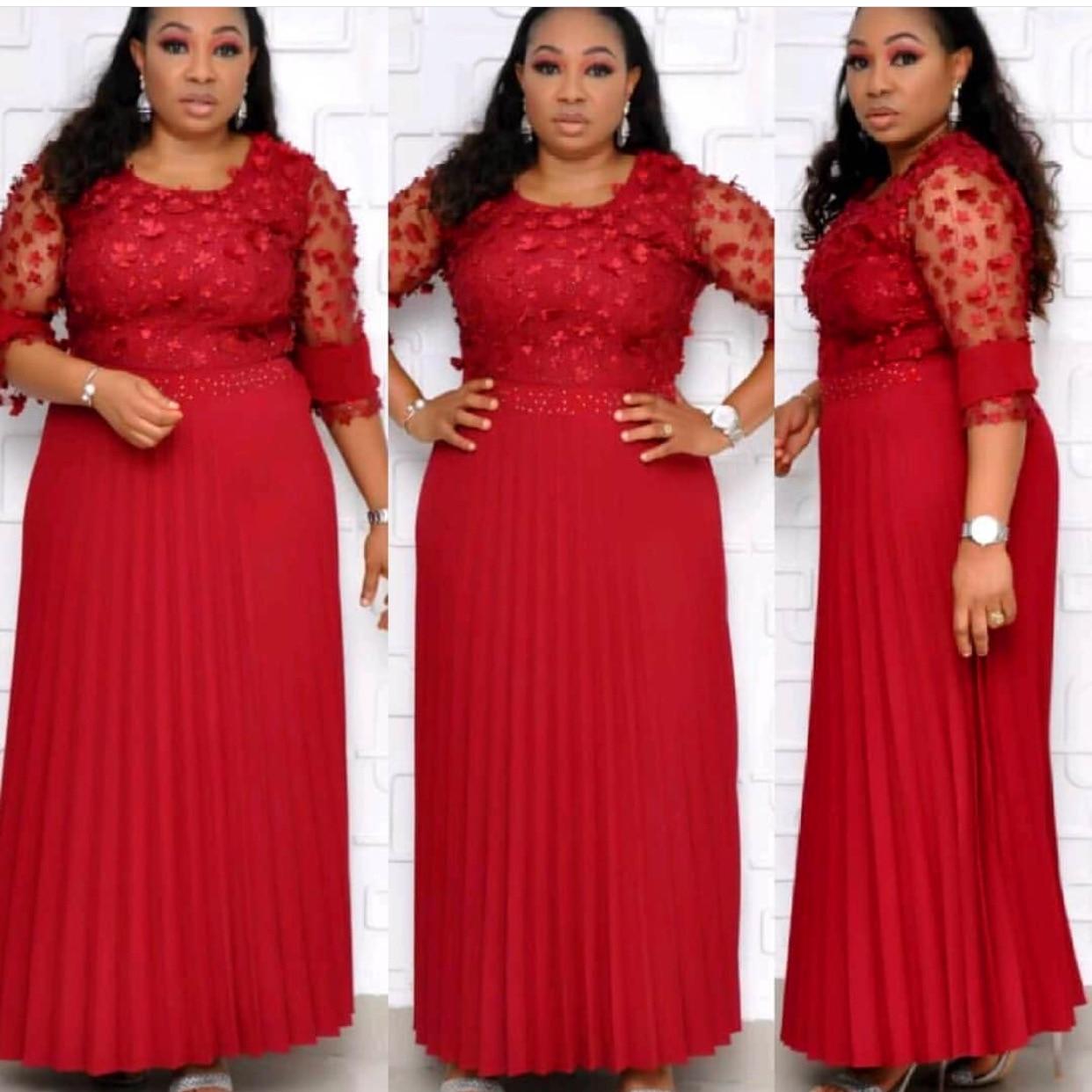 2019 new autumn elegent african women o-neck lace plus size long dress