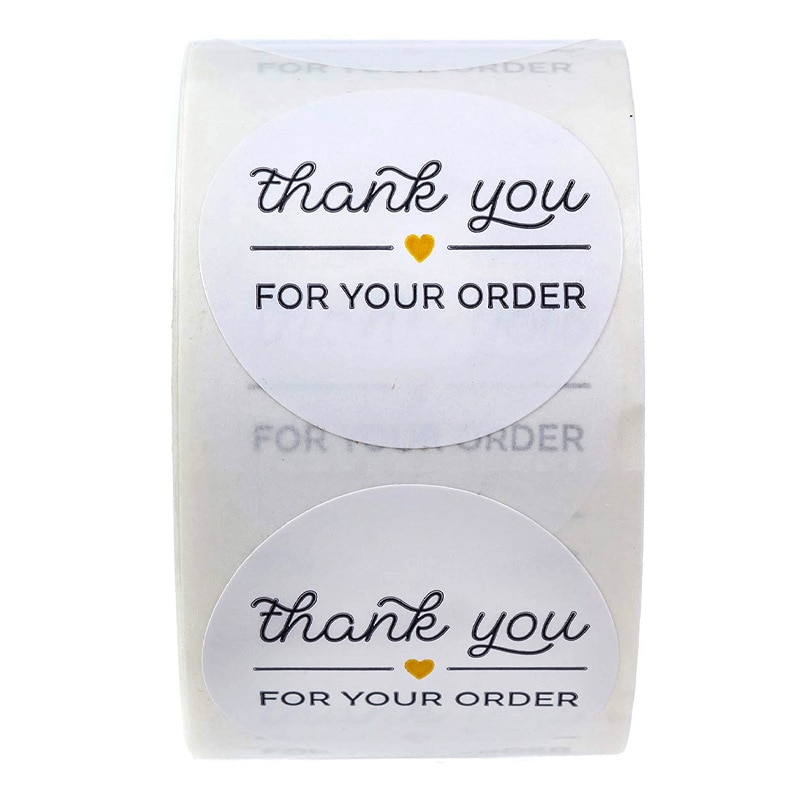 1 inch Round black THANK YOU FOR YOUR ORDER  Stickers seal labels 50-500pcs stickers scrapbooking for Package stationery 500pcs pack thank you stickers gloss stickers round stationery thank you for your order seal labels thank you sticker