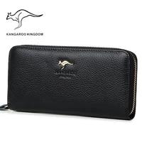 kangaroo kingdom fashion women wallets genuine leather long zipper wallet brand female clutch purse