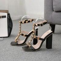women sandals chunky heels design rivet decoration square open toe rivet high heels buckle strap rubber height increasing