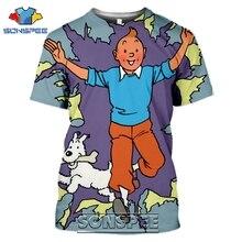 SONSPEE 3D Print Tintin T-shirts Men Women Casual Japanese Streetwear Harajuku Hip Hop Short Sleeve Cartoon Tees Tops Shirt