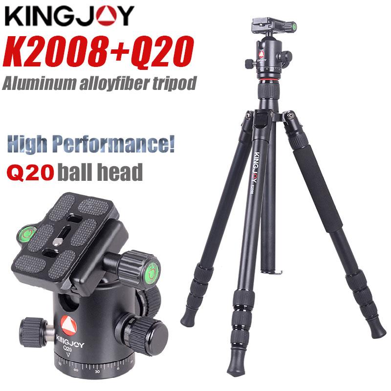 KINGJOY-حامل ثلاثي القوائم احترافي K2008 Q20 للكاميرا ، حامل ثلاثي القوائم من الألومنيوم ، لجميع الموديلات ، حامل SLR الرقمي DSLR