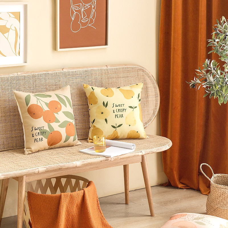 غطاء وسادة بأشكال فواكه إسكندنافية ، غطاء وسادة بأحرف ، مخدات ، مسند ظهر ، ديكور لغرفة النوم والمنزل