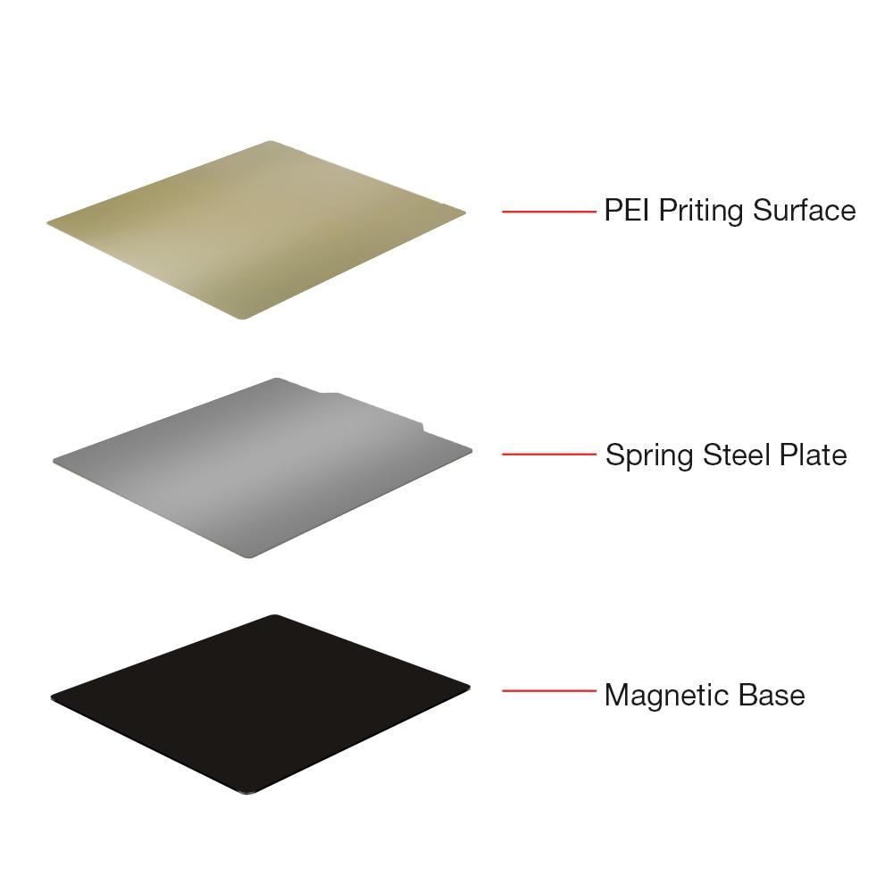 Piezas de impresora 3D BIQU PEI Flex adhesivo magnético caliente 220/235/310mm hoja de acero de resorte para serie Anet CR10 Ender3/5 Hotbed