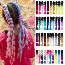 Synthetic Ombre Braiding Hair Extensions 100g/Pack 24Inches Jumbo Braid Box Braids Hair For Bluk Pre Stretched Afro Braids