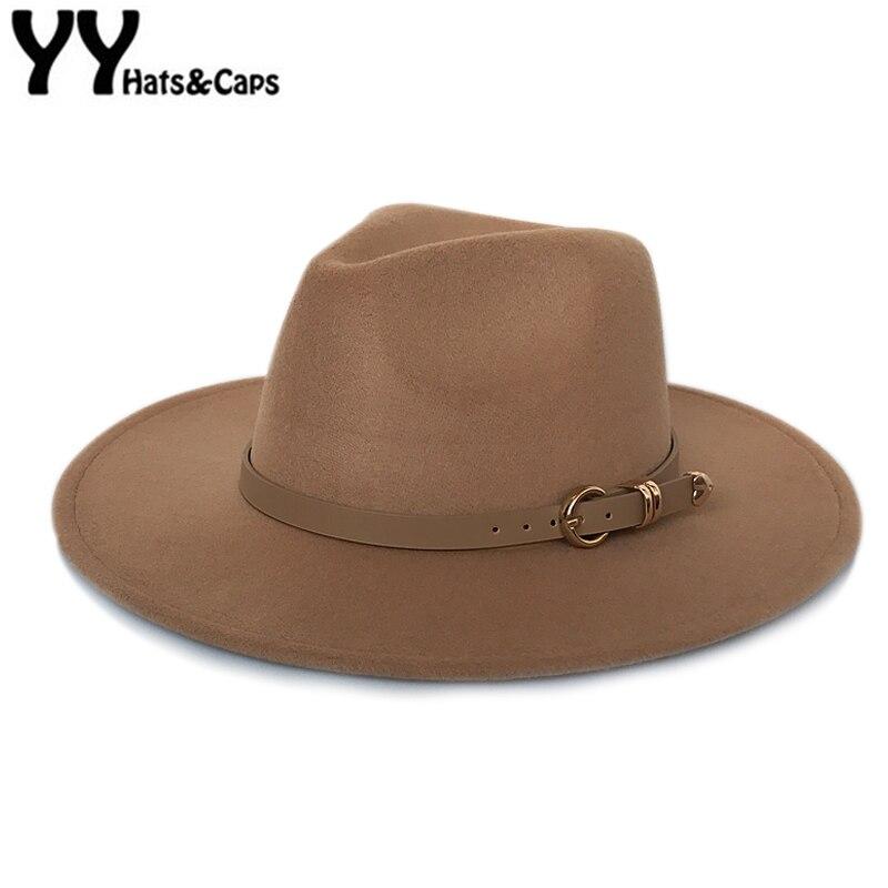 YY sombrero de fieltro de ala de gran tamaño para mujeres Vintage gorra de Trilby Otoño Invierno Fedora hombres Jazz Panamá Cappello Donna Elegante FD19034