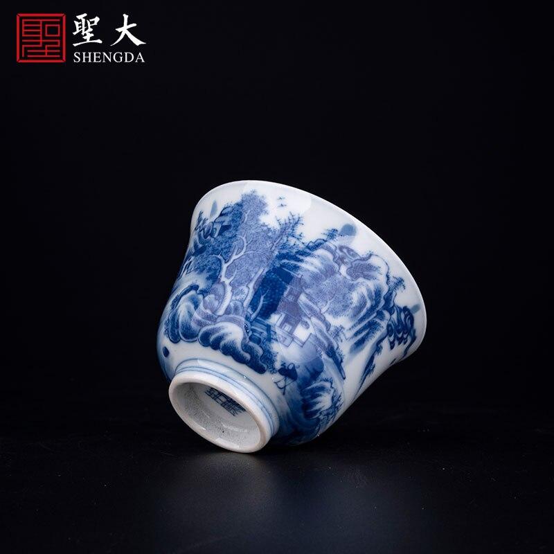 Yuanxu فرن الأزرق والأبيض تشاي فرن Qianlong المشهد جرس كوب رسمت باليد جينغدتشن طقم شاي فنجان شاي الكونغ فو فنجان شاي