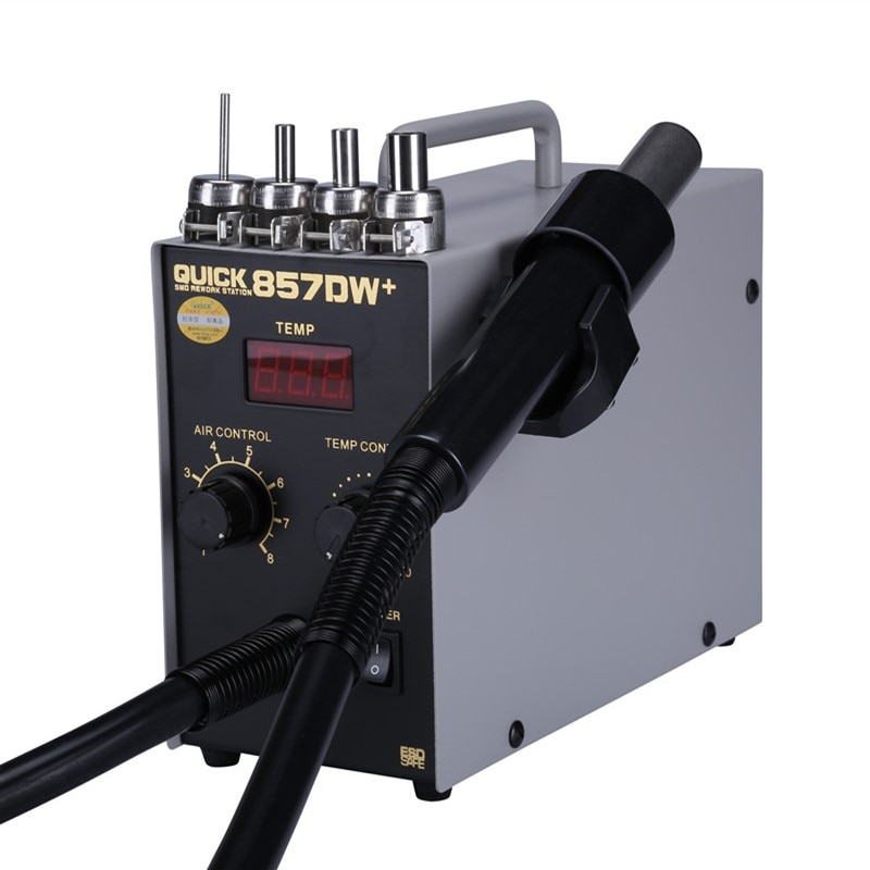 سريع 857DW + محطة لحام 580 واط مسدس هواء ساخن محطة مع سخان حلزوني مسدس هواء الرياح مصلحة الارصاد الجوية محطة إعادة العمل الساخن لإصلاح بغا