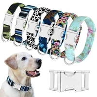adjustable for medium large dogs engraved dog collar personalized nylon pet dog tag collar custom puppy cat nameplate collars