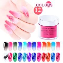 12 Kleuren Thermochrome Pigment Thermische Kleurverandering Temperatuur Gradiënt Stof 10 Ml/box Chameleon Shiny Nail Glitter Poeder