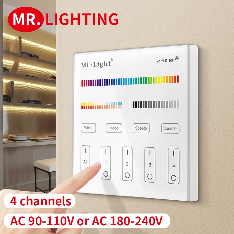 T4 Miboxer (Milight) 4-zone RGB + CCT AC110V or AC220V smart touch panel remote control for led light strips light bulbs