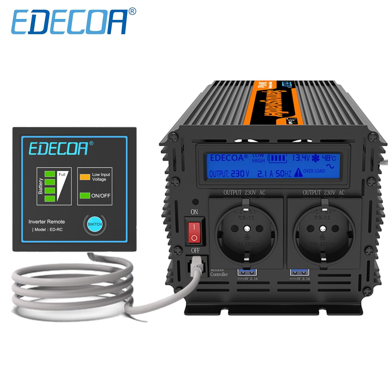 EDECOA 2000W 4000W DC 12V AC 100V 110V 220V 230V 240V محض موجة جيبية تحويل خارج الشبكة السلطة العاكس