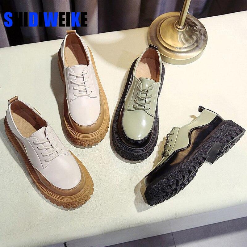 Dedo do pé Sapatos de Plataforma Rendas até Lolita Mulheres Bombas Casuais Sólido Redondo All-match Estilo Britânico Respirável Feminino Sapatos Oxford