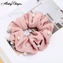Anneau à cheveux en tissu petit et frais   1 pièce, nouveaux accessoires coréens de mode Pearl, scunies pour cheveux