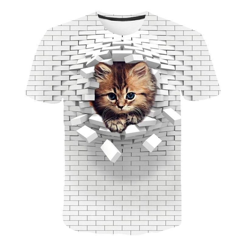 New Fashion Wall design Boys Black 3D Cat T Shirts 8 Designs Children T-shirts for 1-14Years Girls Tops Dog Tees Boys Tshirts