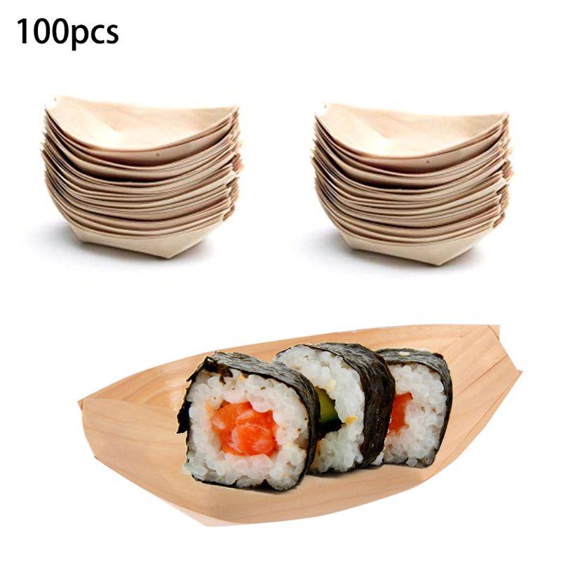 Bandejas desechables para servir comida en forma de botes de madera, 100 Uds., bandejas para aperitivos
