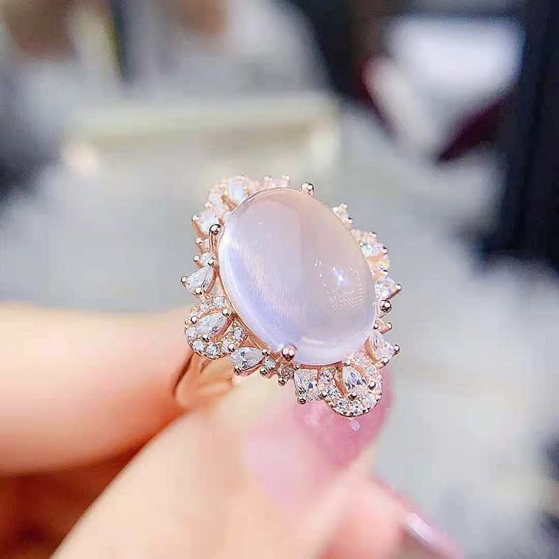 Get High Quality Ross Quartz S925 Sterling Silver Gem Luxury Ring Fine Fashion Wedding Jewelry for Women MeiBaPJFS
