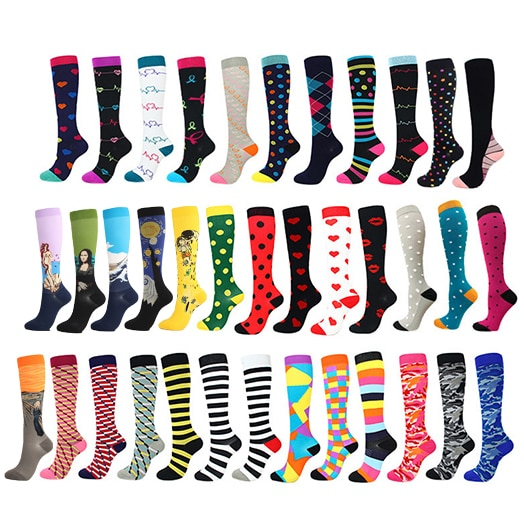 28 Styles Compression Socks Men Women 30 Mmhg Knee High Medical Edema Diabetes Varicose Veins Marathon Running Sports Socks