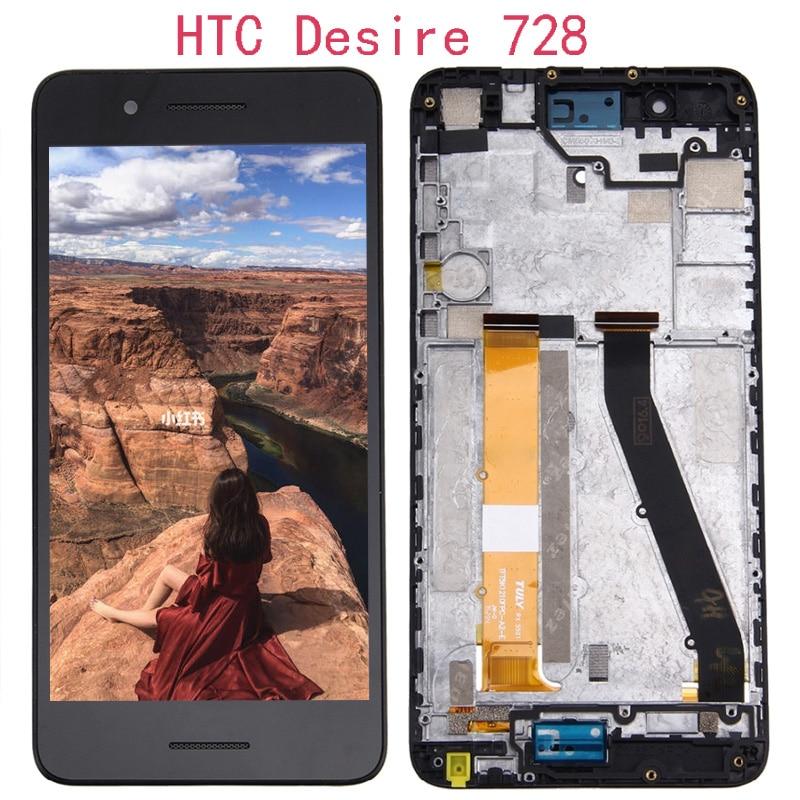 100% testado para htc desire 728 tela de toque lcd com moldura para htc desire d728 display digitador peças reposição + ferramentas gratuitas