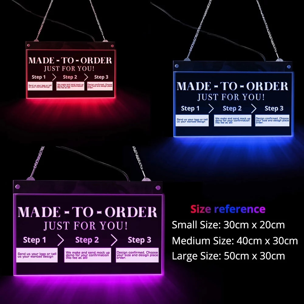 Personalized / Custom Multi-color LED Lighting Wall Art Electronic Lighted Signs Advertisement Hanging Board Night Light Lamp