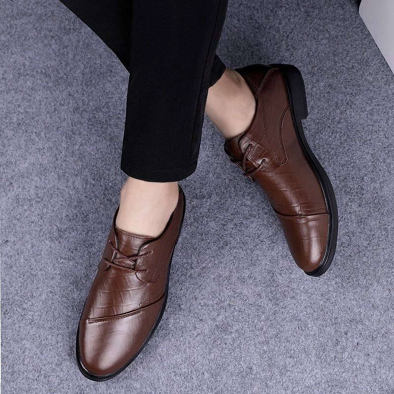 2021 Style Fashion Men's Shoes Dress Genuine Leather Classic Brown Black Elegant Derby Shoe Man Work Office Formal Shoes For Men