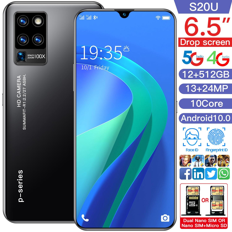 SAILF S20u Android 10.0 Mobile Phone 6.5' FHD+ 24MP Triple Camera 12G RAM 512GB ROM Smartphone 4G gsm Global