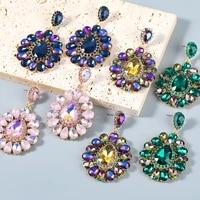 jijiawenhua 2021 new rhinestone flower shaped womens pendant earrings dinner party fashion jewelry accessories